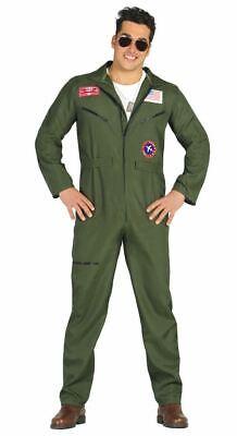 Fighter Pilot Outfit (Mens Fighter Pilot Top Gun Aviator Fancy Dress Costume Adults)
