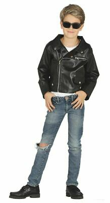 Boys 1950s Faux Leather Jacket Teddy Boy Fancy Dress Costume Book - 1950s Boy Costume