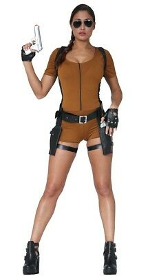 Tomb Raider Outfits (Ladies Lara Croft Costume Tomb Raider 90s Video Game Womens Fancy Dress)