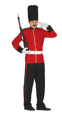 Mens Adult Royal Red London Guard Palace Busby Fancy Dress Outfit Costume New XL