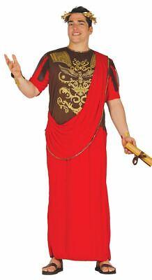 Mens Roman Senator Emperor Caesar Red Toga Fancy Dress Costume - Red Toga Kostüm
