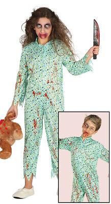 blutiges Zombie Mädchen im Schlafanzug Halloween Kostüm für Kinder Gr. 110-146