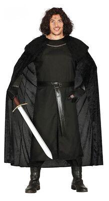 Herren Jon Schnee Kostüm Schwarz Mittelalterlich Game Of Thrones Sheriff - Jon Schnee Game Of Thrones Kostüm