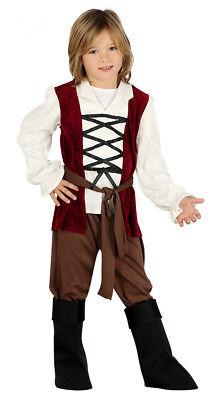 Kinder Jungen Mittelalter Kostüm Dienstmädchen Seite & Stiefel Abdeckung Alter - Jungen Braun Kostüm Stiefel