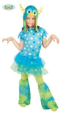 Monster - Kostüm für Mädchen Halloween Karneval Ungeheuer blau Gr. 110 - 146
