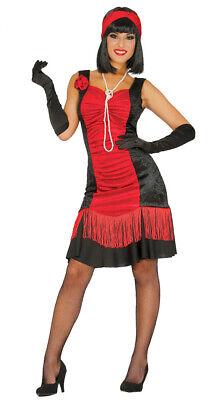 rotes Charleston Kleid Karneval 20er Jahre Motto Party Kostüm für Damen Gr. (Kleid Für Kostüm)