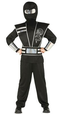 Jungen Klassisch Schwarz Ninja Samurai Kostüm Warrior Kinder - Ninja Warrior Kind Kostüm