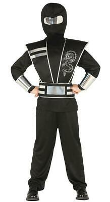 Boys Classic Black Ninja Samurai Warrior Fancy Dress Costume Childs - Black Ninja Boy Kostüm