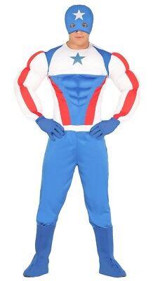 az de Capitán Superhéroe Muscle America Halloween M-XL (Disfraz De Halloween Hombre)