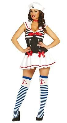Womens Navy Pin Up Sailor Costume Ladies Fancy Dress Outfit UK 8/10/12/14/16