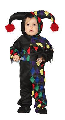 Jungen Mädchen Kleinkind Clown Kostüm Hofnarr Harlekin Outfit 1-2 Jahre Neu ()