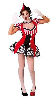Damen Sexy Schwarz Rot Joker Clown Halloween Kostüm Kleid Outfit UK 10-12 (Damen Clown Kostüm Uk)
