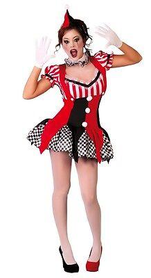 Damen Sexy Schwarz Rot Joker Clown Halloween Kostüm Kleid Outfit EU 38-40