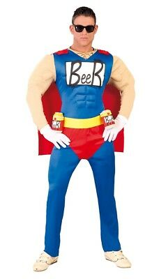 Mens Oktoberfest Costume Duff Man Superhero Fancy Dress Beer Man Outfit Stag Do