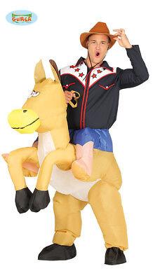 Cowboy Pferd Tragekostüm  Kostüm Reiter Pferd aufblasbar mit Motor Huckepack ()