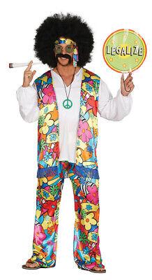 buntes Regenbogen Hippe Blumen Kostüm für Herren in Größe M - L