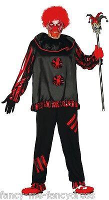 Herren Schwarz Rot Killer Böser Clown Halloween Kostüm Kleid Outfit Größe L ()