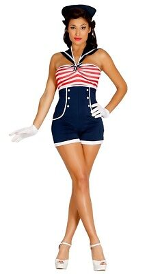 Pin Up Sailor Girl Costume Navy Uniform Womens Ladies Fancy Dress Outfit
