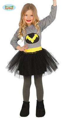 Guirca Superheldenkostüm für Mädchen Grau-Schwarz-Gelb Superheldin - Mädchen Superhelden Kostüm