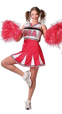 Ladies Sexy American Cheerleader World Fancy Dress Costume Outfit 8-20 Plus
