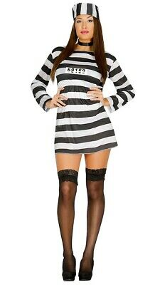 Womens Robber Costume (Convict Prisoner Costume Womens Robber Jailbird Adults Fancy Dress)