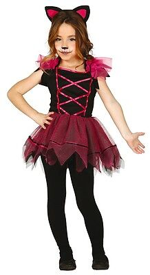 Halloween Karneval Tier Kostüm Kleid Outfit 3-12 Jahre (Rosa Katze Kostüme)