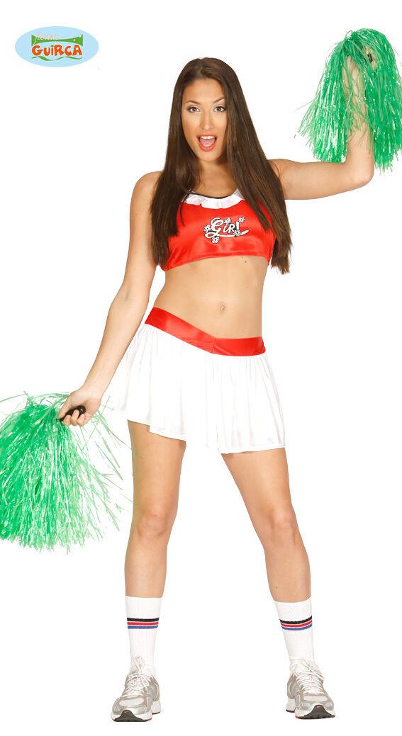 Costume Cheerleader High School Donna Ragazza Pon Pon Carnevale Vestito Nuovo