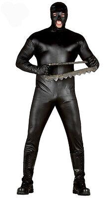 Herren Schwarz Gummi Look Mad Max Horror Fancy-Dress Kostüm Neu