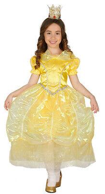 Prinzessin Kostüm für Mädchen Karneval Märchen gelb Königin Ball Kleid Gr 98-134