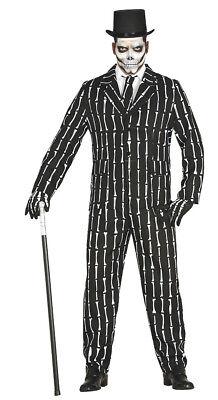 Smart Halloween Costume (Mens Bone Skeleton Suit Smart Fancy Dress Halloween Party)
