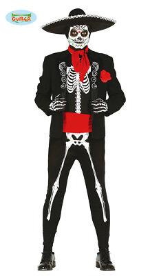 Mexikanischer Skelett Tänzer Kostüm für Herren Halloween Tag der toten (Skelett Kostüm Für Herren)