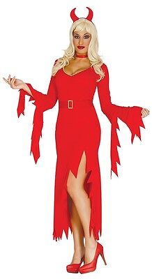 Ladies Sexy Long Red Devil Demon Halloween Fancy Dress Costume Outfit - Red Devil Dress Kostüm