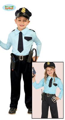 Guirca Polizei Kostüm für Kinder Unisex Karneval Police Cop