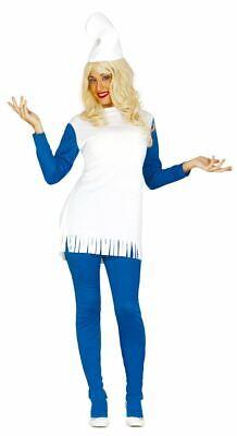 Womens Blue Dwarf Garden Gnome Smurf Fancy Dress Costume Outfit