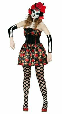 Womens Day of the Dead Death Halloween Fancy Dress Costume & Headband Ladies  - Woman Death Halloween Costume