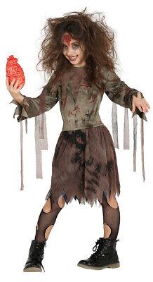 Horror Zombie Mädchen Kostüm für Kinder Halloween Herz Tod Blut Gr. 110 - 146