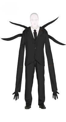 Adult Mens Slenderman Costume Halloween Horror Demon Fancy Dress Black Suit NEW (Halloween Slenderman Kostüme)