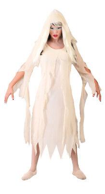 Damen Ghost Geist Mumie Kostüm Halloween Kostüm Lang 10-12 UK Neu