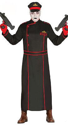 Herren Kommissar / Kostüm Halloween Schwarz Militär Mantel & Hut 38-44 - Kommissar Kostüm