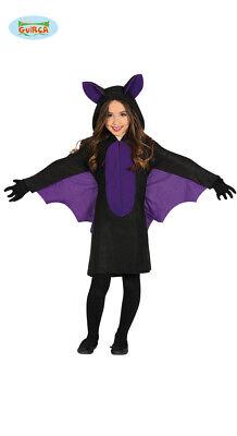 Guirca Fledermaus Kostüm mit Flügeln für Mädchen Kinder Halloween swarz Lila