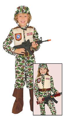 Soldat - Kostüm für Jungen Karneval Fasching Uniform Army Armee grün Gr. 110 - 1