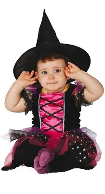 Baby Mädchen Rosa Hexe Halloween Kostüm Kleid Outfit 6-12 & 12-24 Monate
