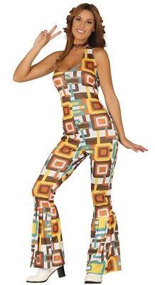 Damen 1970s Hippie Hippy Disco Overall Fest Kostüm Kleid Outfit (Disco Outfit Damen)