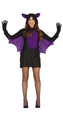 schwarzes sexy Fledermaus Kostüm für Damen Halloween Kleid Horror Gr. S-L