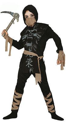 Halloween Kid Film (Kids Ninja Costume Ghost Assassin Fancy Dress Halloween Outfit Film TV Age 4-12)