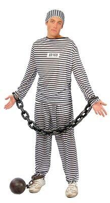Men's Classic Prisoner Jail Convict Halloween Fancy Dress Costume Outfit M & L