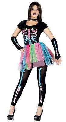 Damen Sexy Farbe Pop Skelett Tutu Halloween Kostüm Kleid Outfit (Sexy Skelett Outfits)