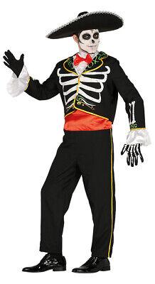 Mexikanischer Skelett Tänzer Kostüm für Herren Mariachi Halloween Mexikaner M-L