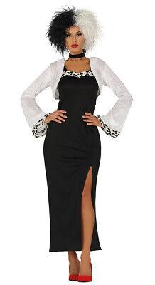 Cruella De Ville Costume Fancy Dress Ladies Halloween Dalmations Outfit NEW (Dalmation Halloween Kostüme)
