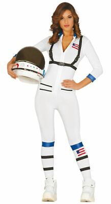 Womens White Astronaut Space Suit Fancy Dress Costume Ladies Outfit